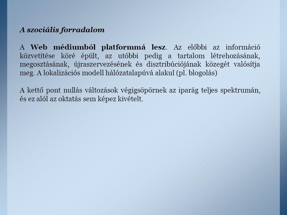 A szociális forradalom A Web médiumból platformmá lesz. Az előbbi az információ közvetítése köré épült, az utóbbi pedig a tartalom létrehozásának, meg