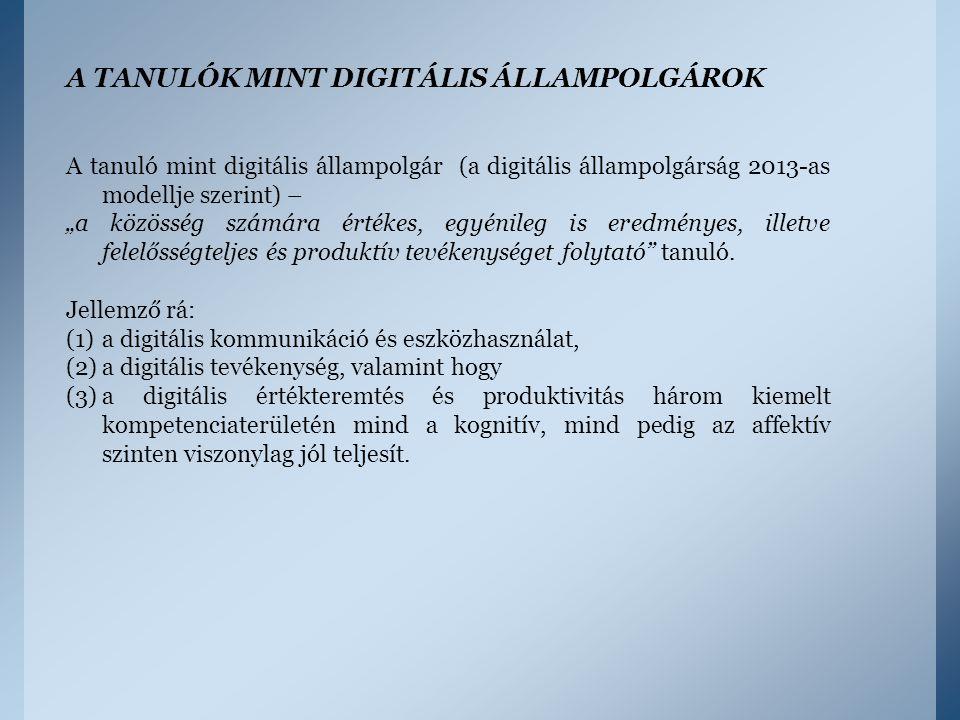 """A TANULÓK MINT DIGITÁLIS ÁLLAMPOLGÁROK A tanuló mint digitális állampolgár (a digitális állampolgárság 2013-as modellje szerint) – """"a közösség számára"""