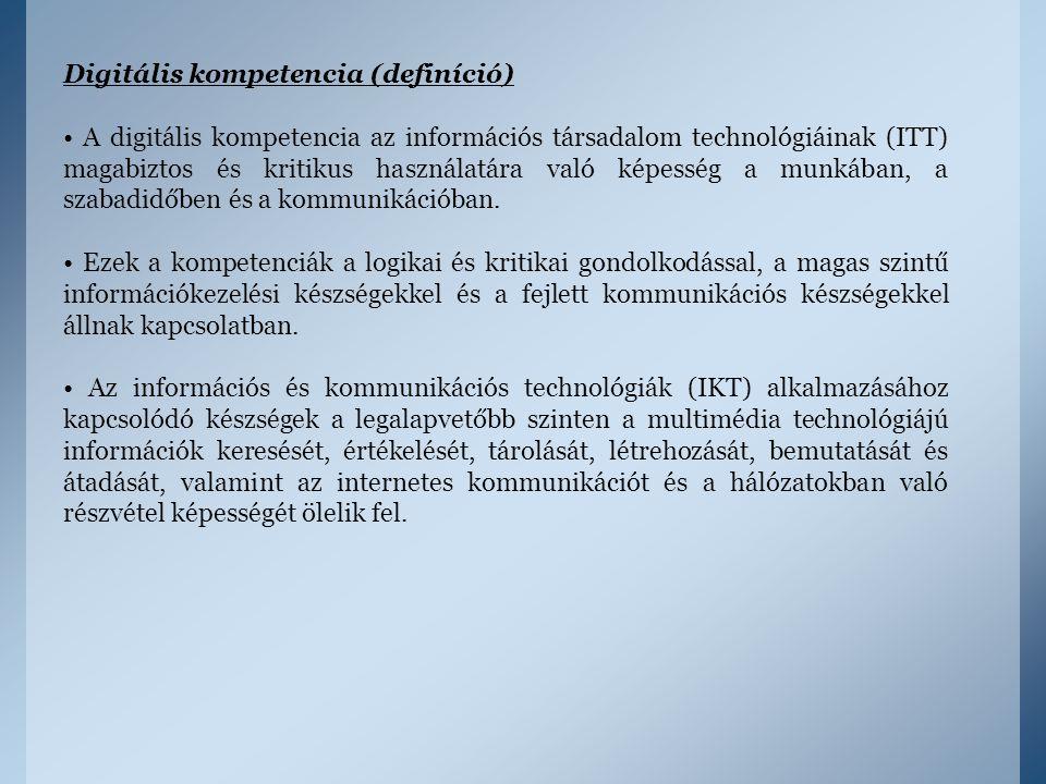 Digitális kompetencia (definíció) A digitális kompetencia az információs társadalom technológiáinak (ITT) magabiztos és kritikus használatára való kép