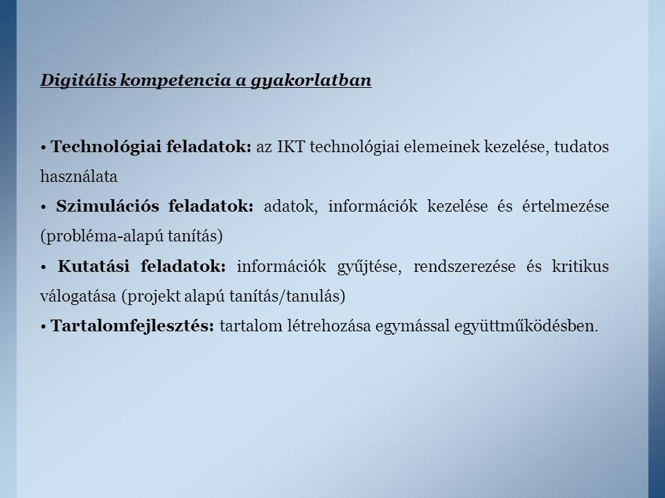 Digitális kompetencia a gyakorlatban Technológiai feladatok: az IKT technológiai elemeinek kezelése, tudatos használata Szimulációs feladatok: adatok,