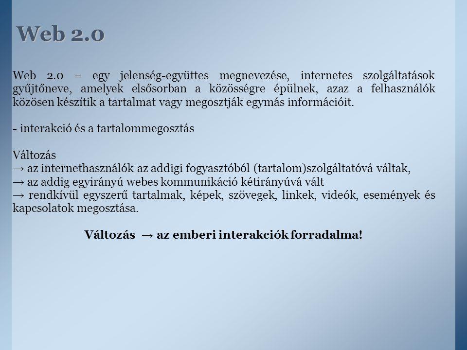 Web 2.0 Web 2.0 = egy jelenség-együttes megnevezése, internetes szolgáltatások gyűjtőneve, amelyek elsősorban a közösségre épülnek, azaz a felhasználó