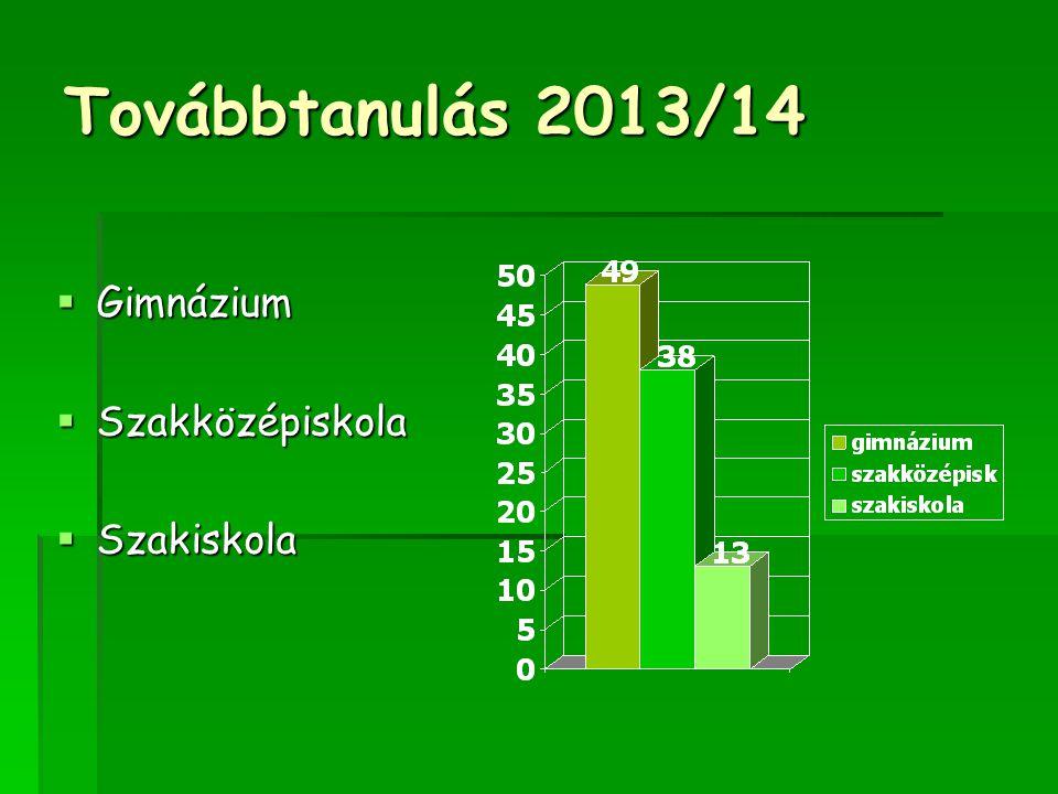 Továbbtanulás 2013/14  Gimnázium  Szakközépiskola  Szakiskola