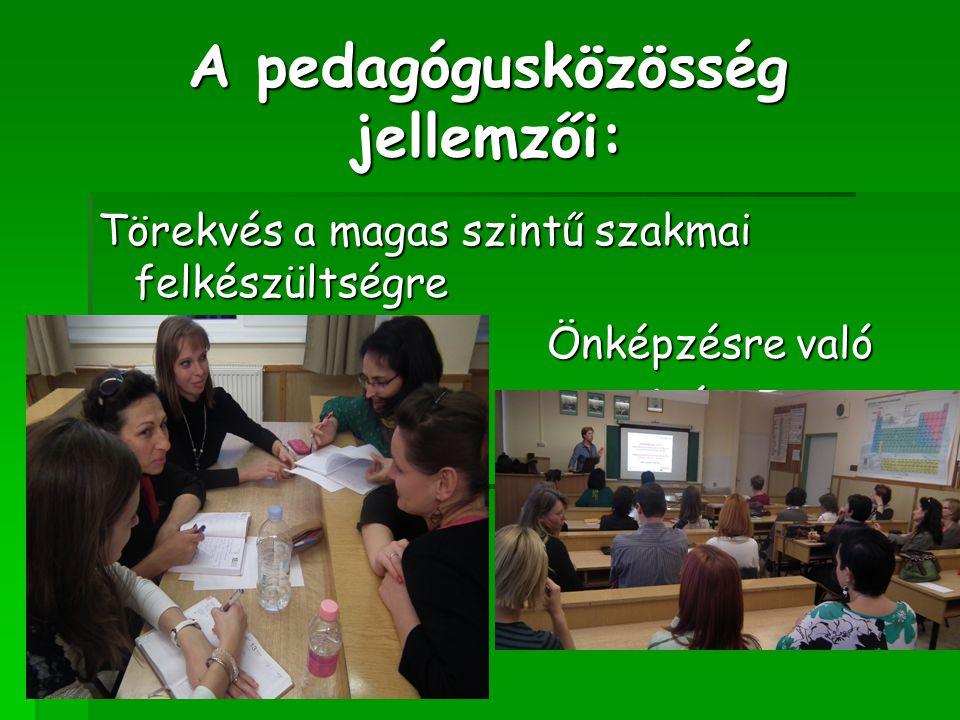 A pedagógusközösség jellemzői: Törekvés a magas szintű szakmai felkészültségre Önképzésre való Önképzésre való igény igény