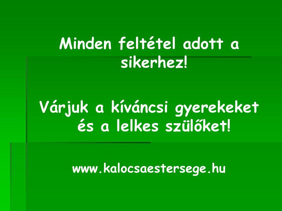 Minden feltétel adott a sikerhez! Várjuk a kíváncsi gyerekeket és a lelkes szülőket! www.kalocsaestersege.hu