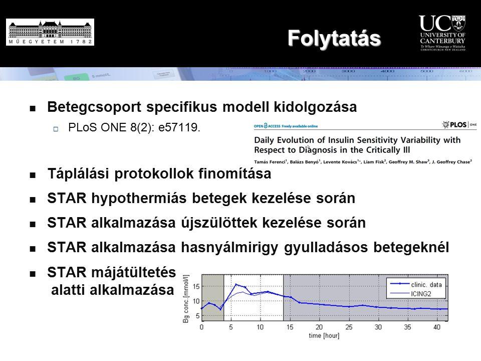 Folytatás Betegcsoport specifikus modell kidolgozása  PLoS ONE 8(2): e57119. Táplálási protokollok finomítása STAR hypothermiás betegek kezelése sorá