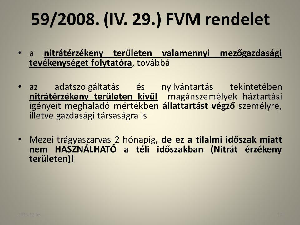 59/2008. (IV. 29.) FVM rendelet a nitrátérzékeny területen valamennyi mezőgazdasági tevékenységet folytatóra, továbbá az adatszolgáltatás és nyilvánta