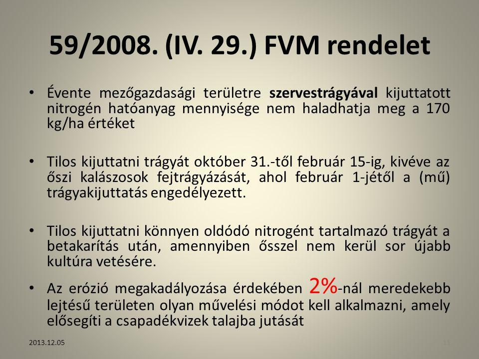 59/2008. (IV. 29.) FVM rendelet Évente mezőgazdasági területre szervestrágyával kijuttatott nitrogén hatóanyag mennyisége nem haladhatja meg a 170 kg/