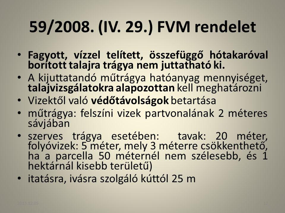 59/2008. (IV. 29.) FVM rendelet Fagyott, vízzel telített, összefüggő hótakaróval borított talajra trágya nem juttatható ki. A kijuttatandó műtrágya ha
