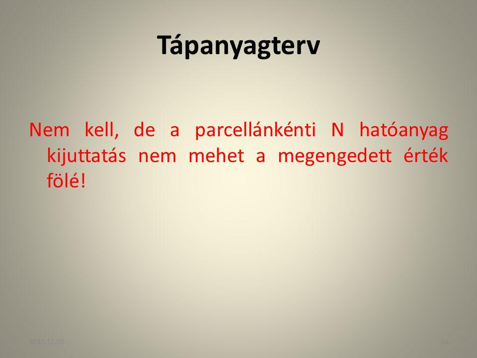 Tápanyagterv Nem kell, de a parcellánkénti N hatóanyag kijuttatás nem mehet a megengedett érték fölé! 2013.12.0514
