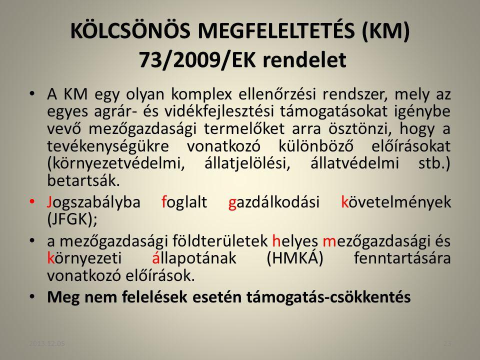 KÖLCSÖNÖS MEGFELELTETÉS (KM) 73/2009/EK rendelet A KM egy olyan komplex ellenőrzési rendszer, mely az egyes agrár- és vidékfejlesztési támogatásokat i