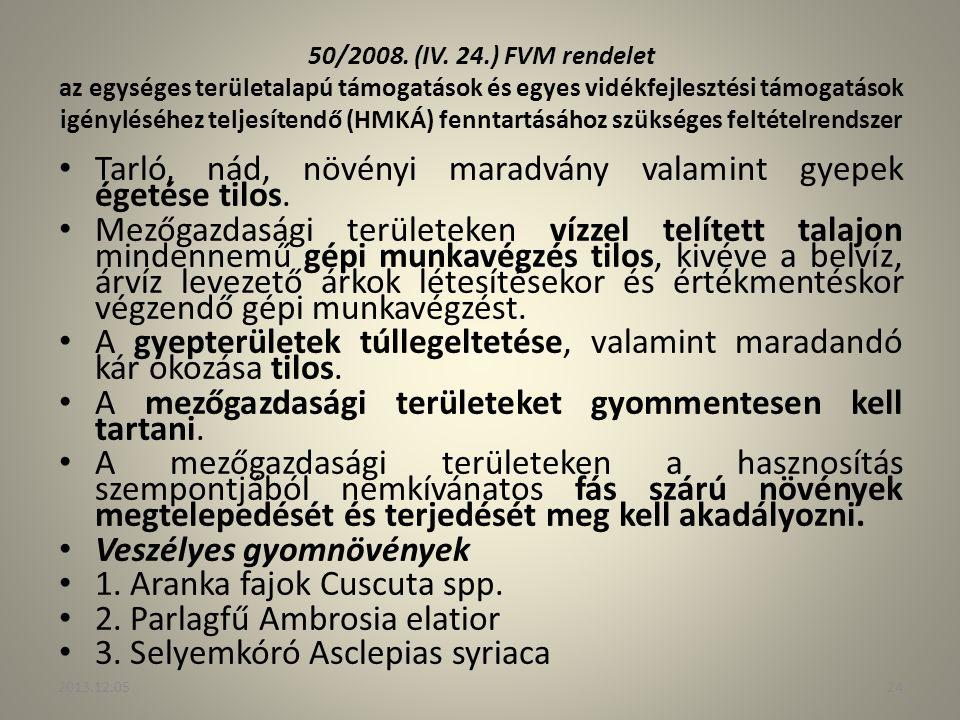 50/2008. (IV. 24.) FVM rendelet az egységes területalapú támogatások és egyes vidékfejlesztési támogatások igényléséhez teljesítendő (HMKÁ) fenntartás
