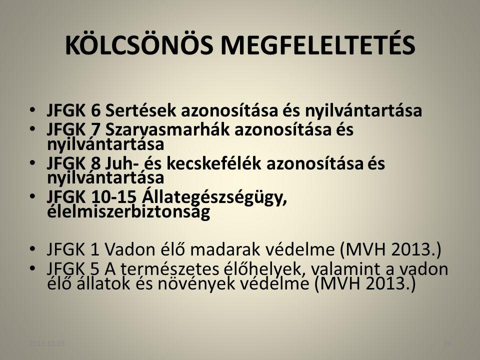 KÖLCSÖNÖS MEGFELELTETÉS JFGK 6 Sertések azonosítása és nyilvántartása JFGK 7 Szarvasmarhák azonosítása és nyilvántartása JFGK 8 Juh- és kecskefélék az