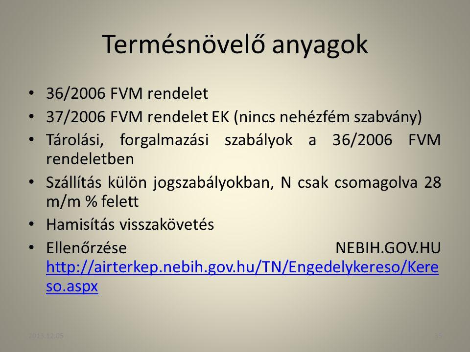 Termésnövelő anyagok 36/2006 FVM rendelet 37/2006 FVM rendelet EK (nincs nehézfém szabvány) Tárolási, forgalmazási szabályok a 36/2006 FVM rendeletben