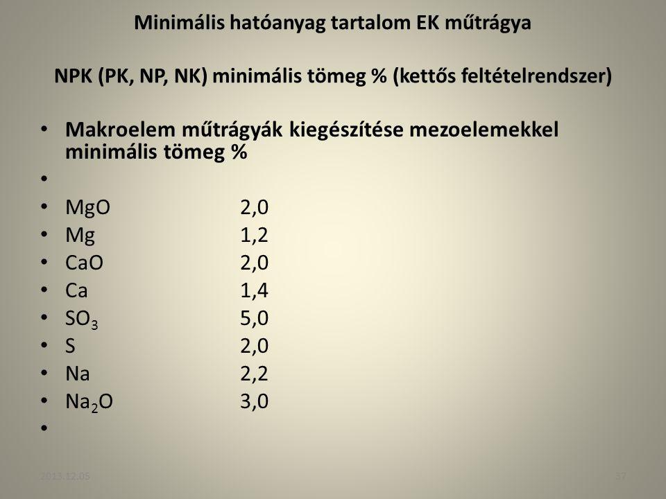 Minimális hatóanyag tartalom EK műtrágya NPK (PK, NP, NK) minimális tömeg % (kettős feltételrendszer) Makroelem műtrágyák kiegészítése mezoelemekkel m