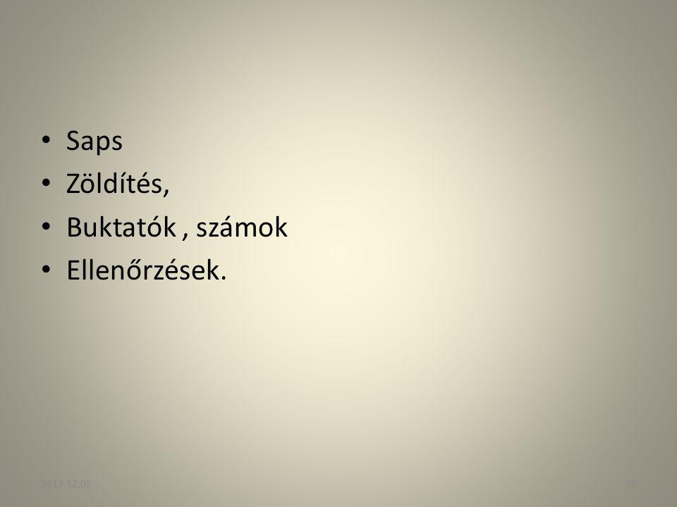 Saps Zöldítés, Buktatók, számok Ellenőrzések. 2013.12.0539