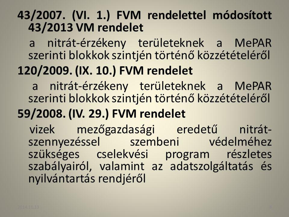 43/2007. (VI. 1.) FVM rendelettel módosított 43/2013 VM rendelet a nitrát-érzékeny területeknek a MePAR szerinti blokkok szintjén történő közzétételér