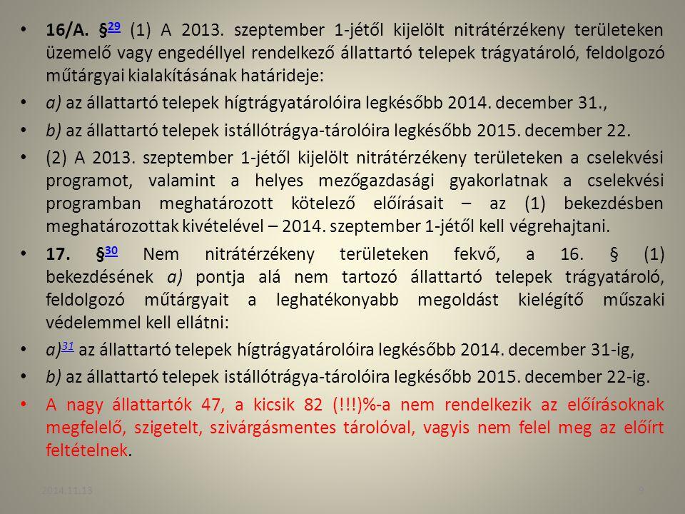16/A. § 29 (1) A 2013. szeptember 1-jétől kijelölt nitrátérzékeny területeken üzemelő vagy engedéllyel rendelkező állattartó telepek trágyatároló, fel