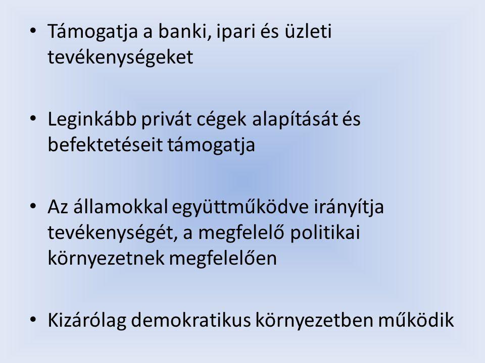 Legfontosabb támogatási területei: Strukturális és szektorális reformok Verseny és privatizáció Erősödő pénzügyi szervezetek és legitim rendszerek Privát szektort elősegítő infrastrukturális fejlesztések
