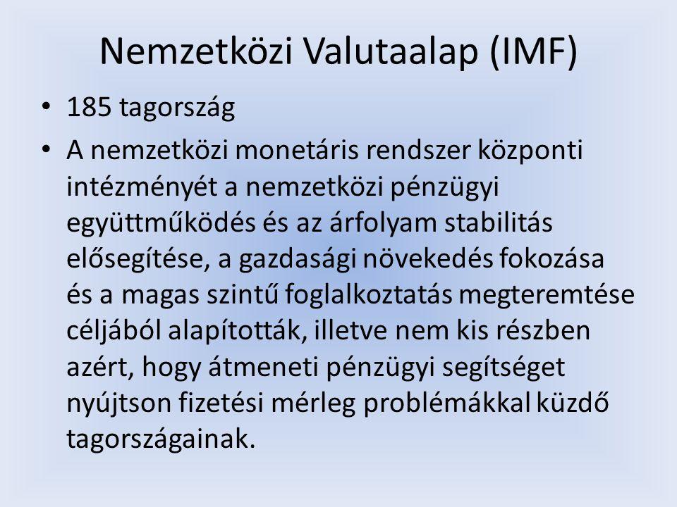Nemzetközi Valutaalap (IMF) 185 tagország A nemzetközi monetáris rendszer központi intézményét a nemzetközi pénzügyi együttműködés és az árfolyam stab