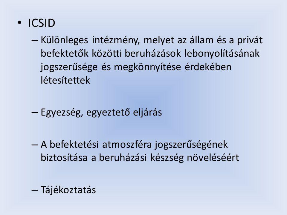 ICSID – Különleges intézmény, melyet az állam és a privát befektetők közötti beruházások lebonyolításának jogszerűsége és megkönnyítése érdekében léte