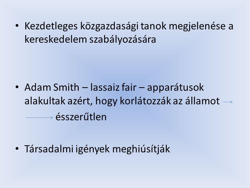 Kezdetleges közgazdasági tanok megjelenése a kereskedelem szabályozására Adam Smith – lassaiz fair – apparátusok alakultak azért, hogy korlátozzák az