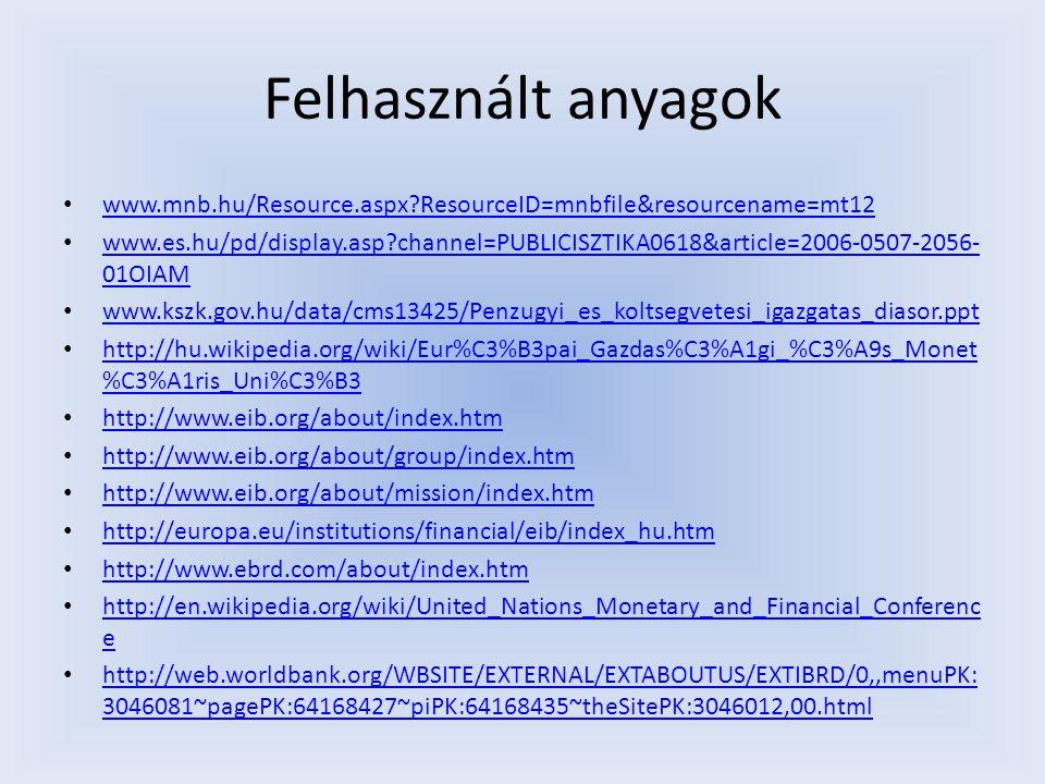 Felhasznált anyagok www.mnb.hu/Resource.aspx?ResourceID=mnbfile&resourcename=mt12 www.es.hu/pd/display.asp?channel=PUBLICISZTIKA0618&article=2006-0507