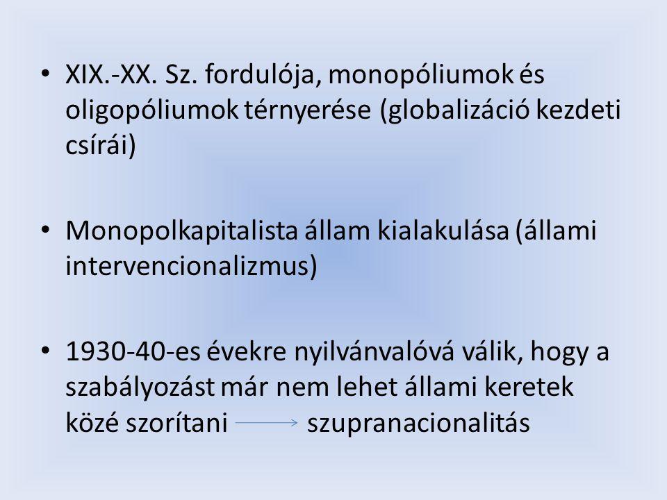 XIX.-XX. Sz. fordulója, monopóliumok és oligopóliumok térnyerése (globalizáció kezdeti csírái) Monopolkapitalista állam kialakulása (állami intervenci