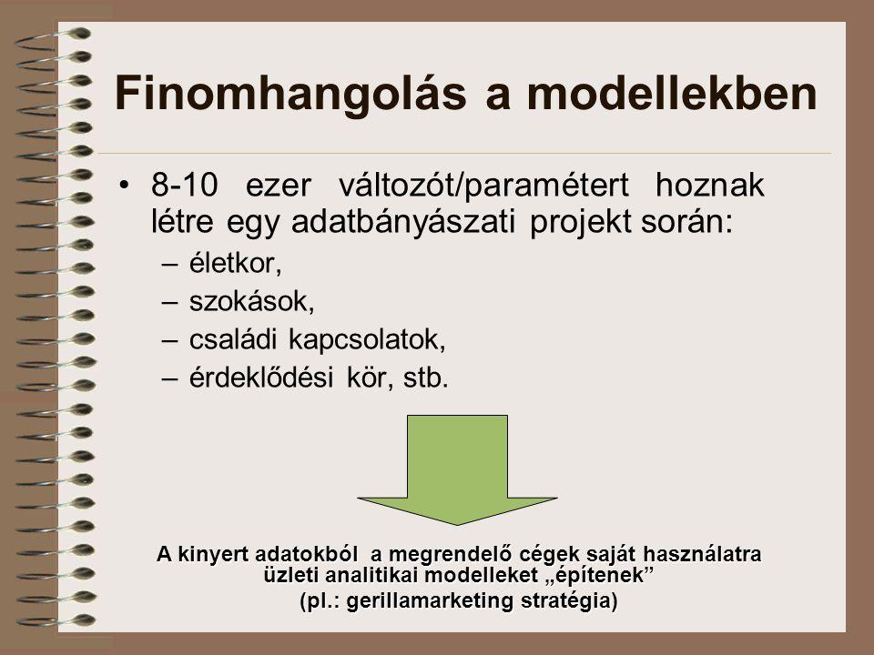 Finomhangolás a modellekben 8-10 ezer változót/paramétert hoznak létre egy adatbányászati projekt során: –életkor, –szokások, –családi kapcsolatok, –é