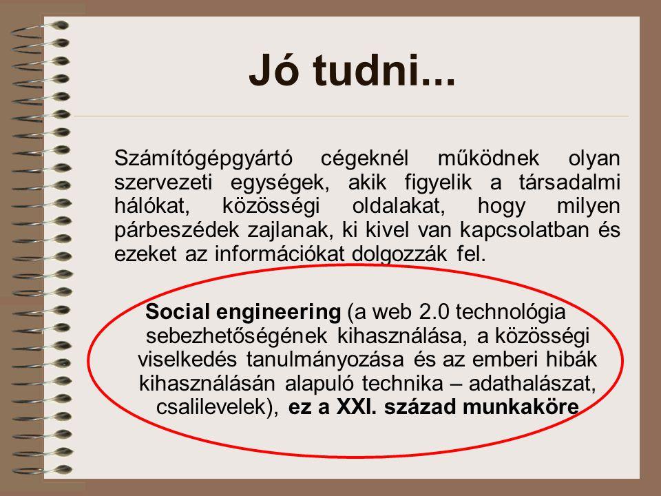Jó tudni... Számítógépgyártó cégeknél működnek olyan szervezeti egységek, akik figyelik a társadalmi hálókat, közösségi oldalakat, hogy milyen párbesz