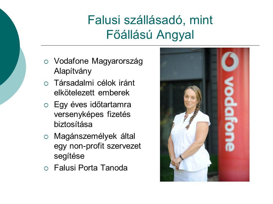Falusi szállásadó, mint Főállású Angyal  Vodafone Magyarország Alapítvány  Társadalmi célok iránt elkötelezett emberek  Egy éves időtartamra versen