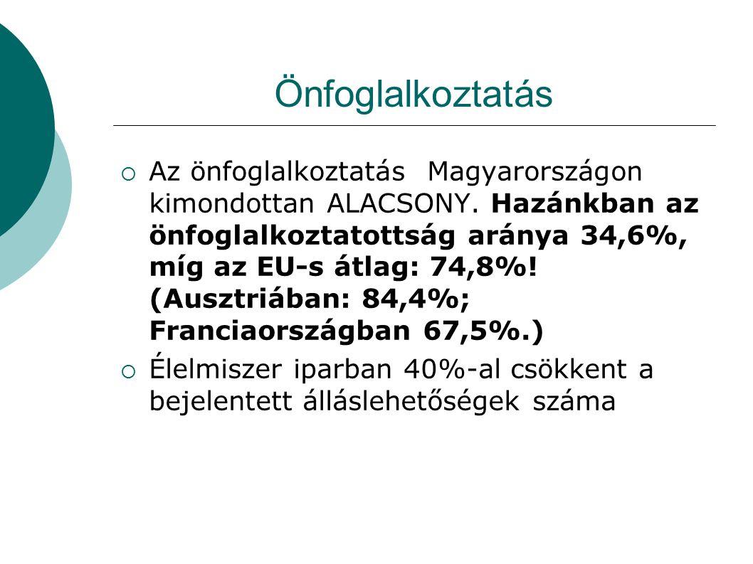 Önfoglalkoztatás  Az önfoglalkoztatás Magyarországon kimondottan ALACSONY. Hazánkban az önfoglalkoztatottság aránya 34,6%, míg az EU-s átlag: 74,8%!