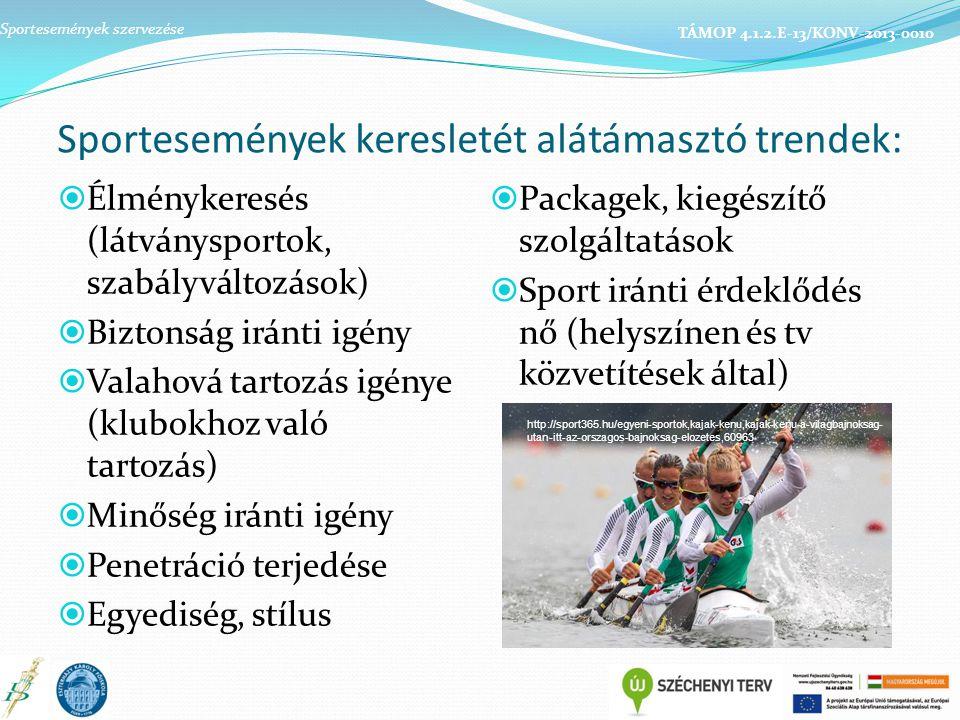 Sportesemények keresletét alátámasztó trendek:  Élménykeresés (látványsportok, szabályváltozások)  Biztonság iránti igény  Valahová tartozás igénye