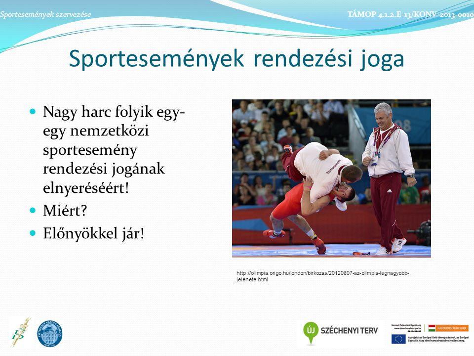 Sportesemények rendezési joga Nagy harc folyik egy- egy nemzetközi sportesemény rendezési jogának elnyeréséért! Miért? Előnyökkel jár! Sportesemények