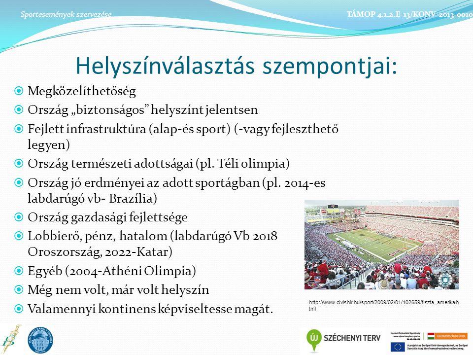 """Helyszínválasztás szempontjai:  Megközelíthetőség  Ország """"biztonságos helyszínt jelentsen  Fejlett infrastruktúra (alap-és sport) (-vagy fejleszthető legyen)  Ország természeti adottságai (pl."""