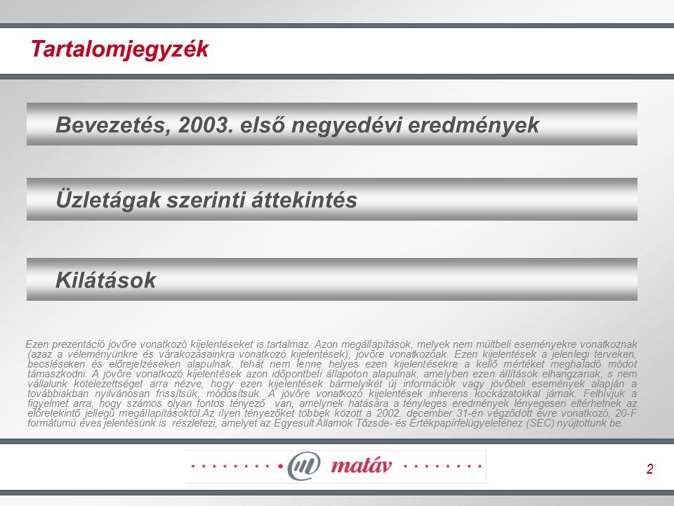2 Üzletágak szerinti áttekintés Tartalomjegyzék Bevezetés, 2003. első negyedévi eredmények Kilátások Ezen prezentáció jövőre vonatkozó kijelentéseket