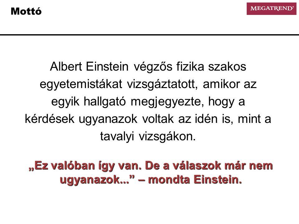 Mottó Albert Einstein végzős fizika szakos egyetemistákat vizsgáztatott, amikor az egyik hallgató megjegyezte, hogy a kérdések ugyanazok voltak az idén is, mint a tavalyi vizsgákon.