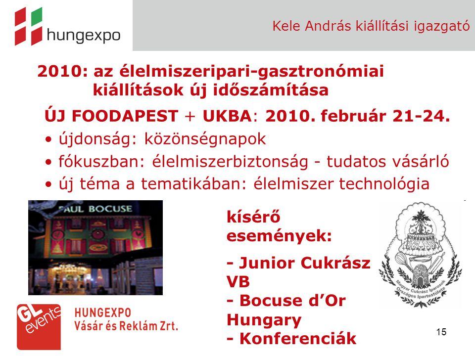 15 Kele András kiállítási igazgató 2010: az élelmiszeripari-gasztronómiai kiállítások új időszámítása ÚJ FOODAPEST + UKBA: 2010. február 21-24. újdons