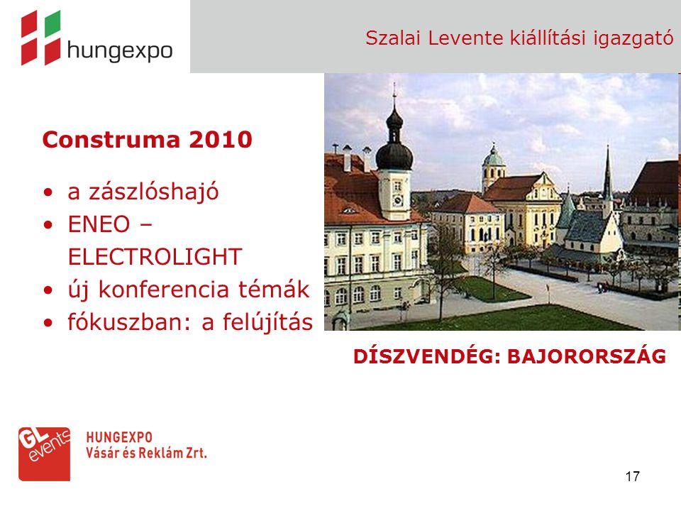 17 Szalai Levente kiállítási igazgató Construma 2010 a zászlóshajó ENEO – ELECTROLIGHT új konferencia témák fókuszban: a felújítás DÍSZVENDÉG: BAJOROR