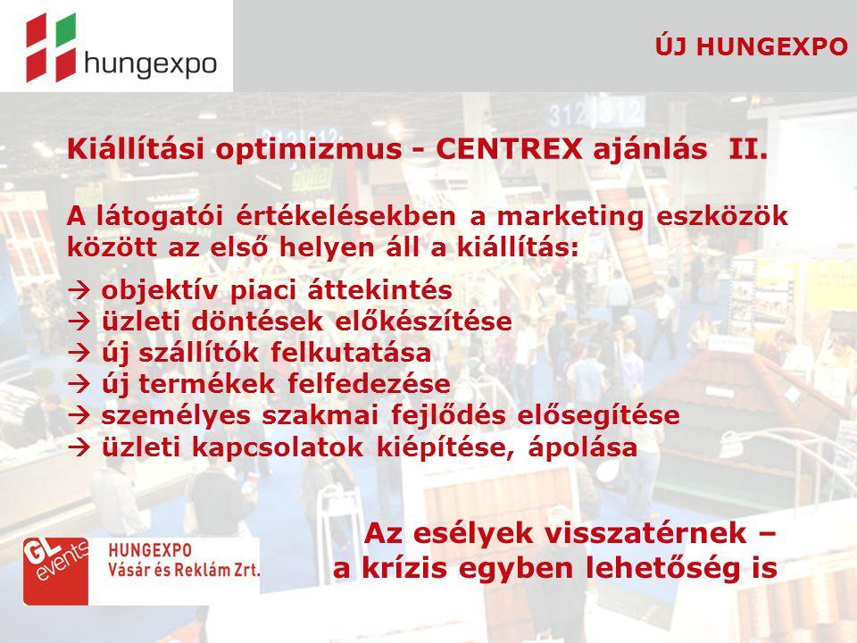 8 ÚJ HUNGEXPO Kiállítási optimizmus - CENTREX ajánlás II. A látogatói értékelésekben a marketing eszközök között az első helyen áll a kiállítás:  obj
