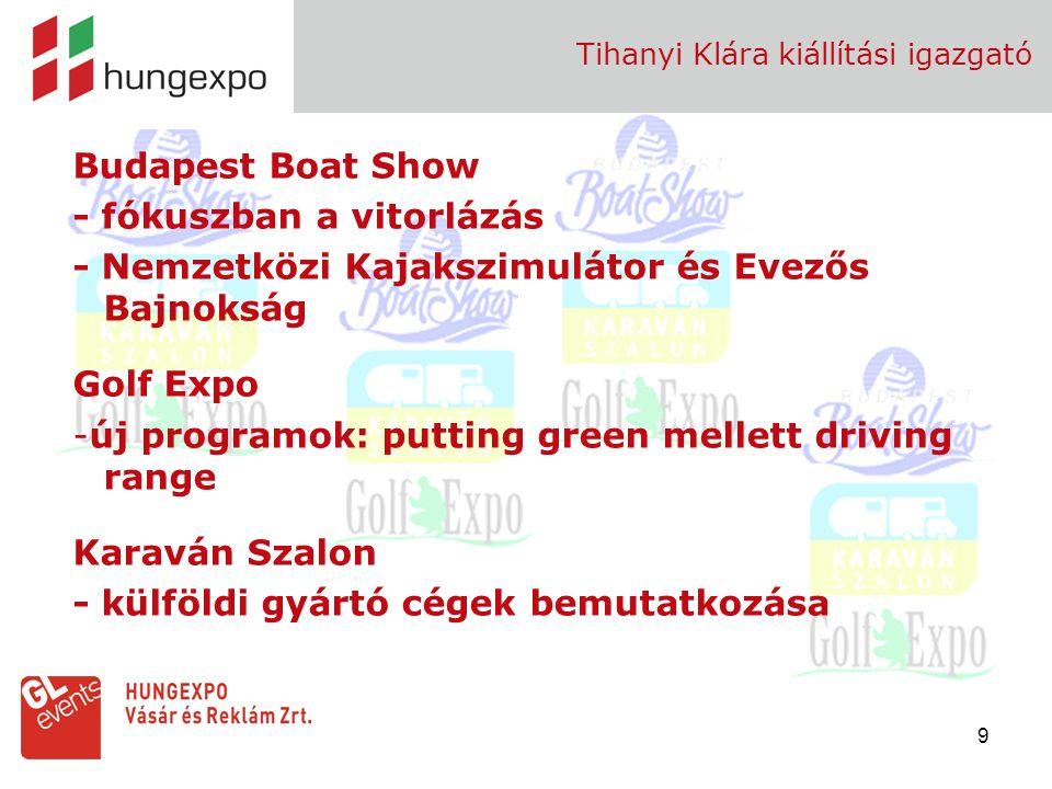 10 Fehova -Európai Világrekord Trófea bemutató -kiállítói fórum: bemutatkozási lehetőség a színpadon Tihanyi Klára kiállítási igazgató BNV - több kísérő kiállítás és rendezvény - meghívott díszvendég: Indonézia /BNV 2009 közönségsiker: 12 %-kal nőtt a látogatottság/ Utazás - Törökország – India - fesztivál turizmus - PÉCS 2010 projekt - Turizmus Job Fair, KARÁT