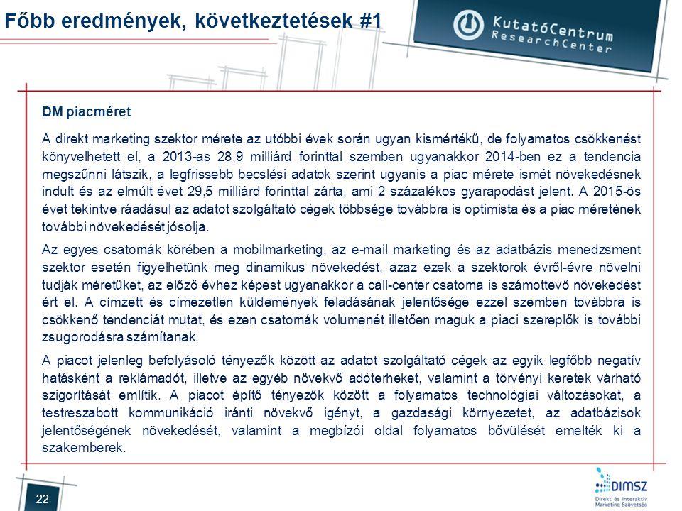 22 Főbb eredmények, következtetések #1 DM piacméret A direkt marketing szektor mérete az utóbbi évek során ugyan kismértékű, de folyamatos csökkenést