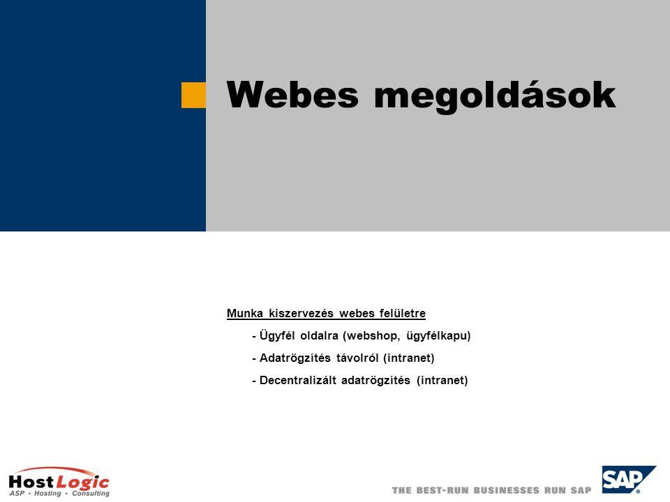 Webes megoldások Munka kiszervezés webes felületre - Ügyfél oldalra (webshop, ügyfélkapu) - Adatrögzítés távolról (intranet) - Decentralizált adatrögzítés (intranet)