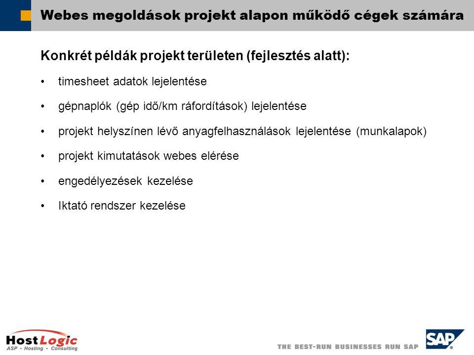  SAP AG 2003 Webes megoldások projekt alapon működő cégek számára Konkrét példák projekt területen (fejlesztés alatt): timesheet adatok lejelentése gépnaplók (gép idő/km ráfordítások) lejelentése projekt helyszínen lévő anyagfelhasználások lejelentése (munkalapok) projekt kimutatások webes elérése engedélyezések kezelése Iktató rendszer kezelése