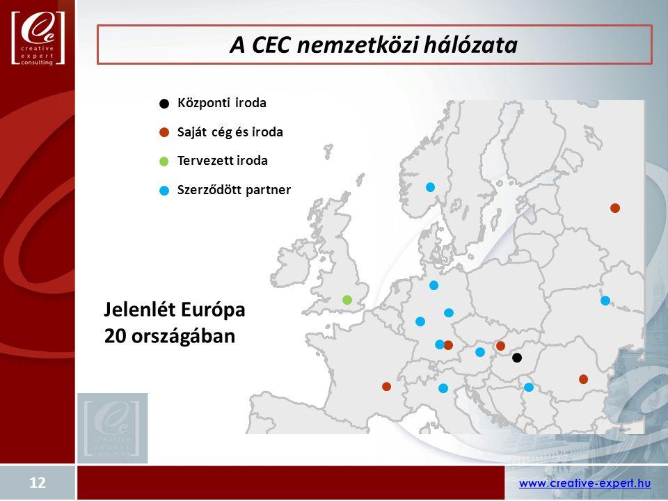A CEC nemzetközi hálózata www.creative-expert.hu 12 Központi iroda Saját cég és iroda Tervezett iroda Szerződött partner Jelenlét Európa 20 országában
