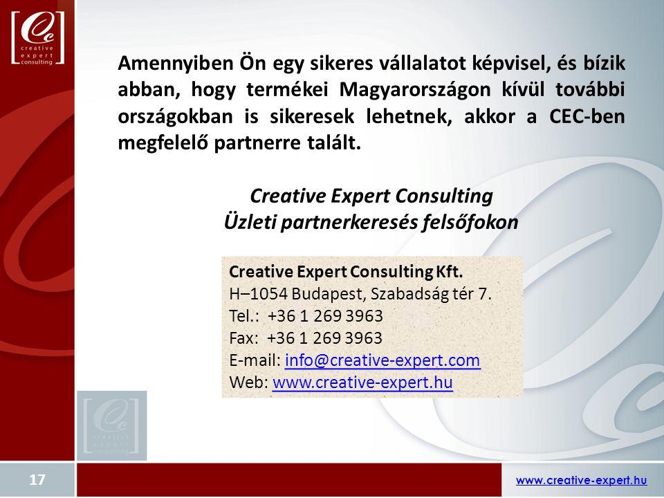www.creative-expert.hu 17 Amennyiben Ön egy sikeres vállalatot képvisel, és bízik abban, hogy termékei Magyarországon kívül további országokban is sik