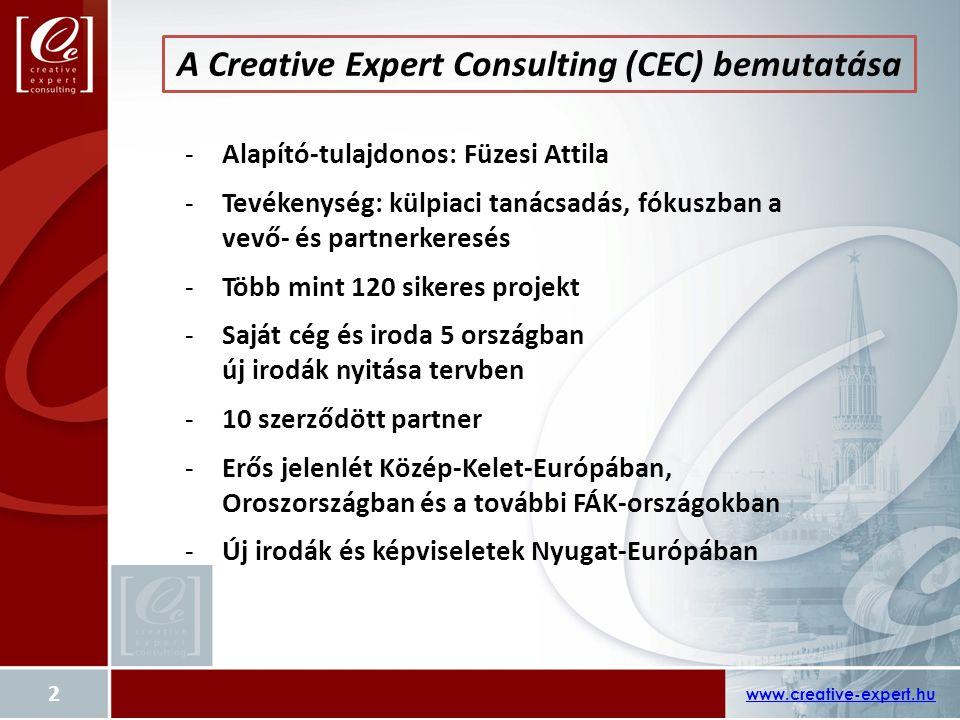 A Creative Expert Consulting (CEC) bemutatása www.creative-expert.hu 2 -Alapító-tulajdonos: Füzesi Attila -Tevékenység: külpiaci tanácsadás, fókuszban