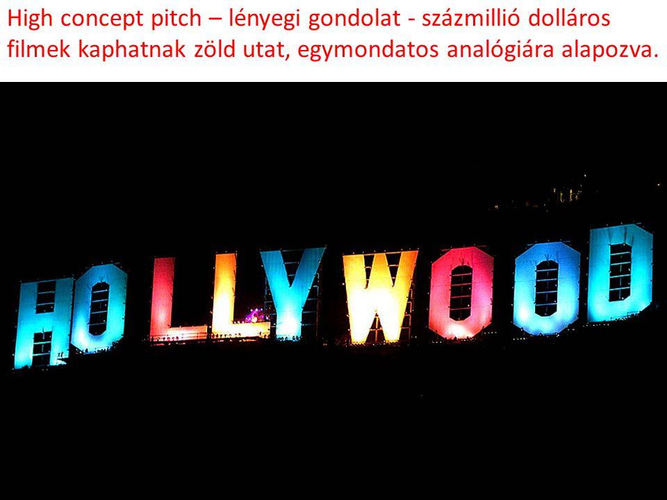 High concept pitch – lényegi gondolat - százmillió dolláros filmek kaphatnak zöld utat, egymondatos analógiára alapozva.