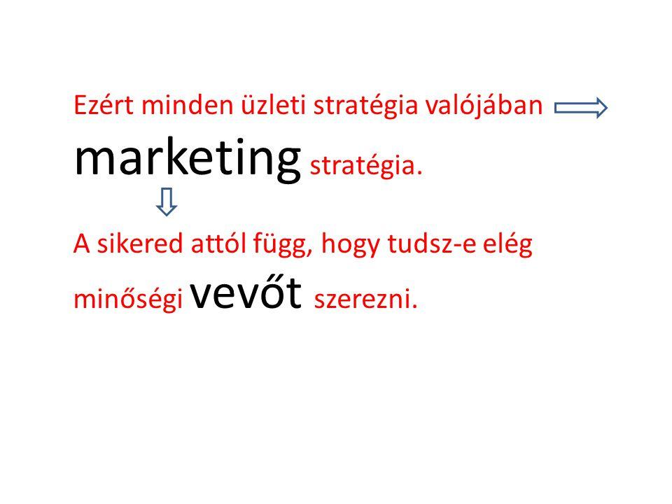Ezért minden üzleti stratégia valójában marketing stratégia. A sikered attól függ, hogy tudsz-e elég minőségi vevőt szerezni.