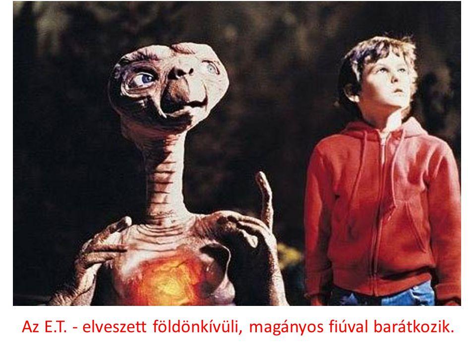 Az E.T. - elveszett földönkívüli, magányos fiúval barátkozik.