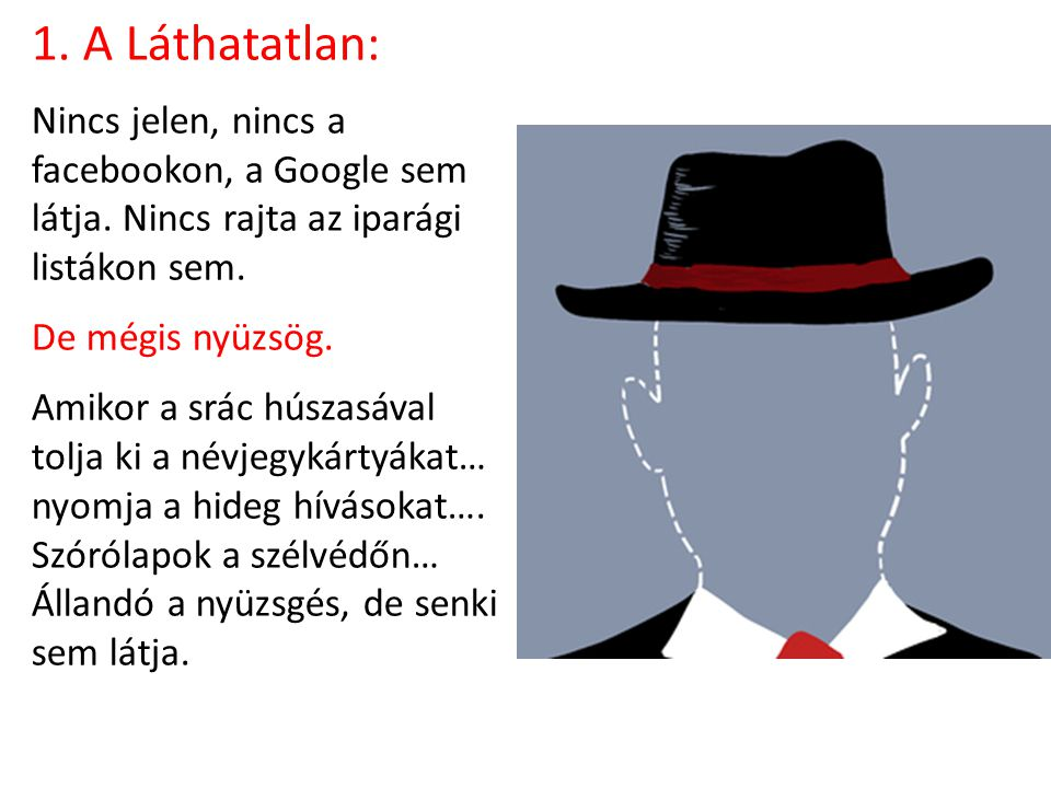 1. A Láthatatlan: Nincs jelen, nincs a facebookon, a Google sem látja.